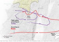 trajectoire du su-24 russe abattu