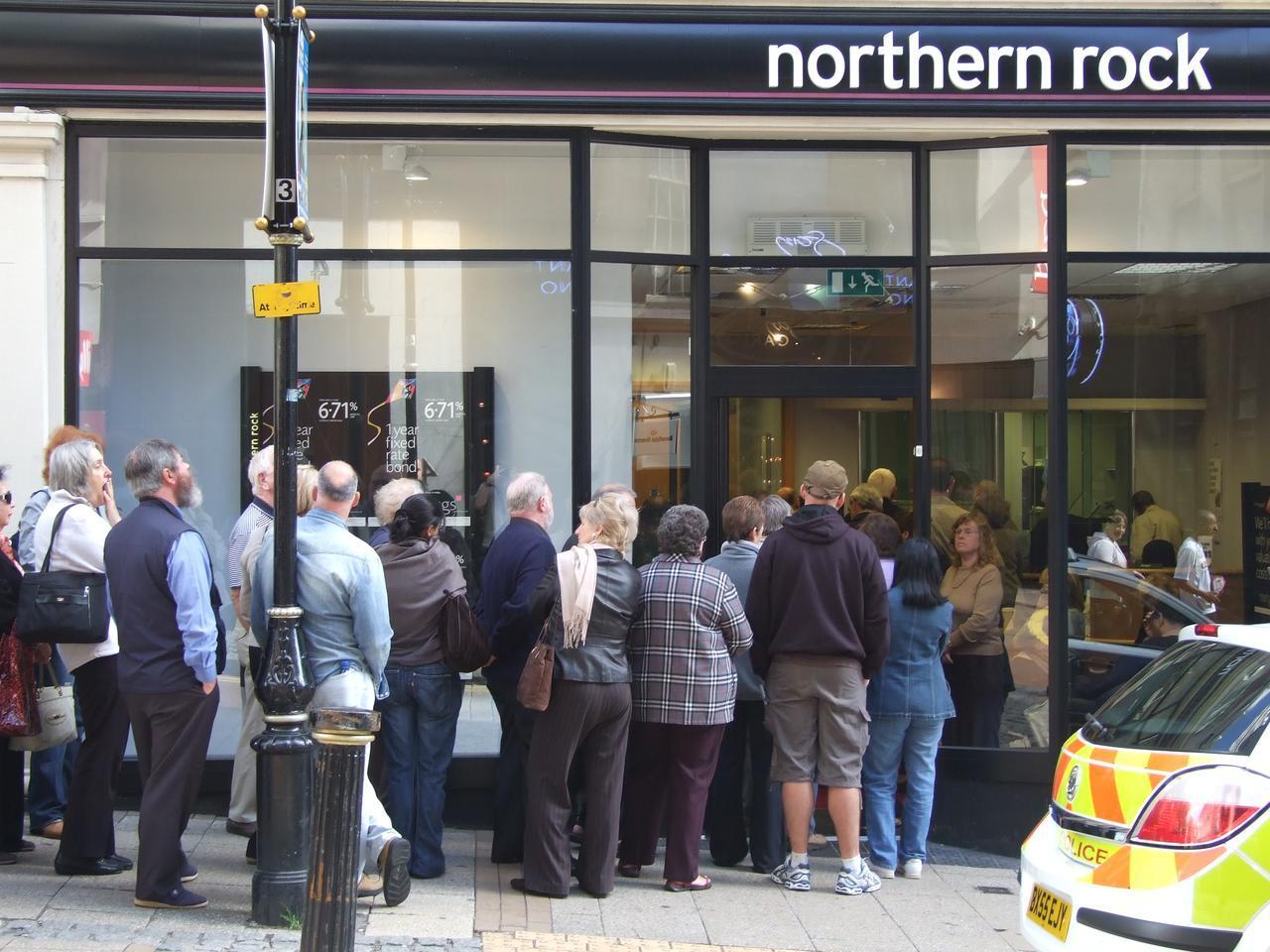 panique bancaire en 2007 chez Northern Rock