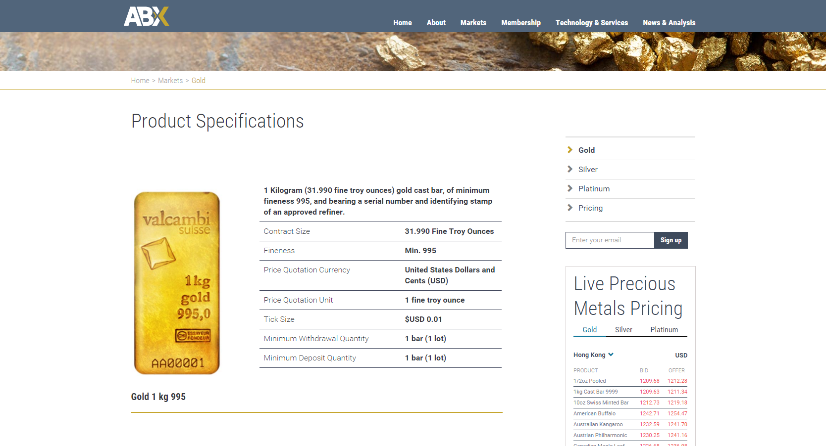 Site d'Allocated Bullion Exchange (ABX)