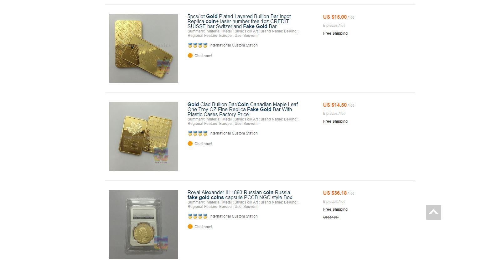 fausses pièces d'or