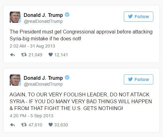 2 tweets de Trump sur la Syrie en 2013