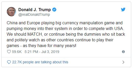 Tweet de Trump sur la dévaluation du dollar